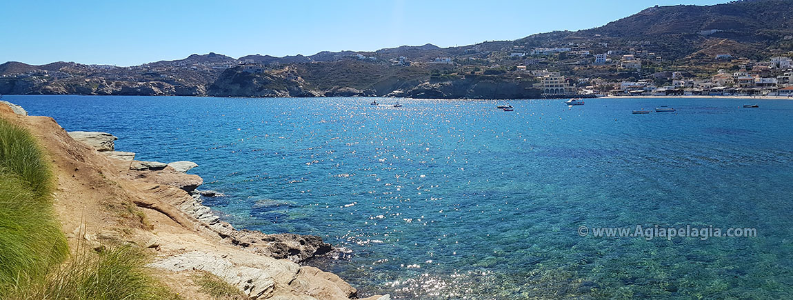 Panoramic photo of the bay of              Agia Pelagia
