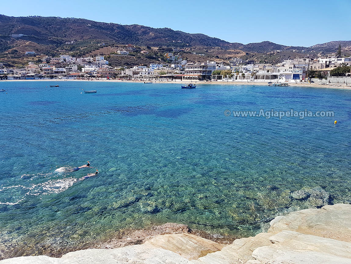 snorkelling in the crystal clear sea water of the beach of Agia Pelagia