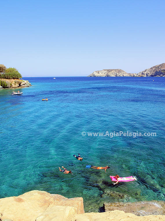 the beach of Fylakes in Agia Pelagia Crete