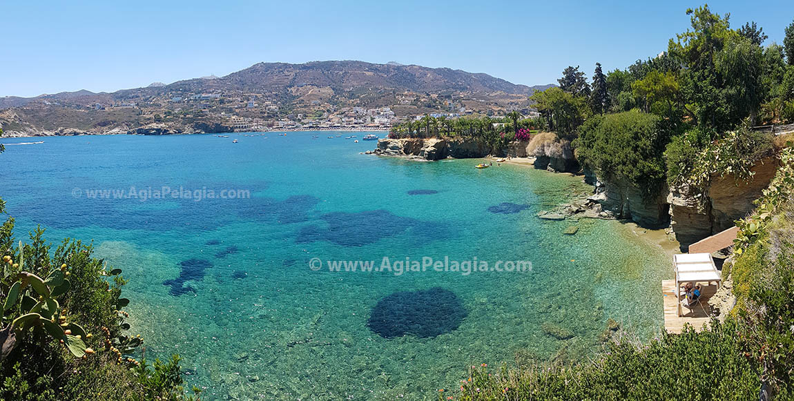 the beach of Fylakes just under Out of the Blue Capsis Elite Luxuriosu Resort Hotel in Agia Pelagia CRETE
