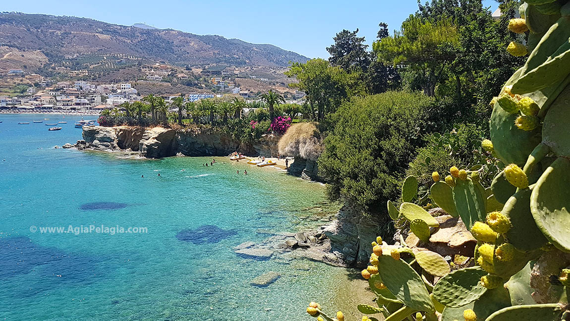 the beach of Fylakes and in the backround the beach of Agia Pelagia