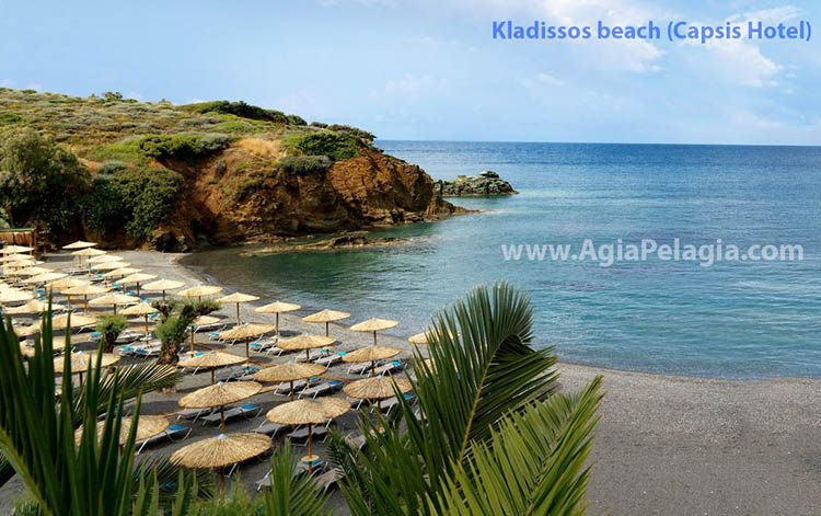 Kladissos beach, the central beach of Out of the Blue Capsis Elite Luxurious Resort Hotel in Agia Pelagia