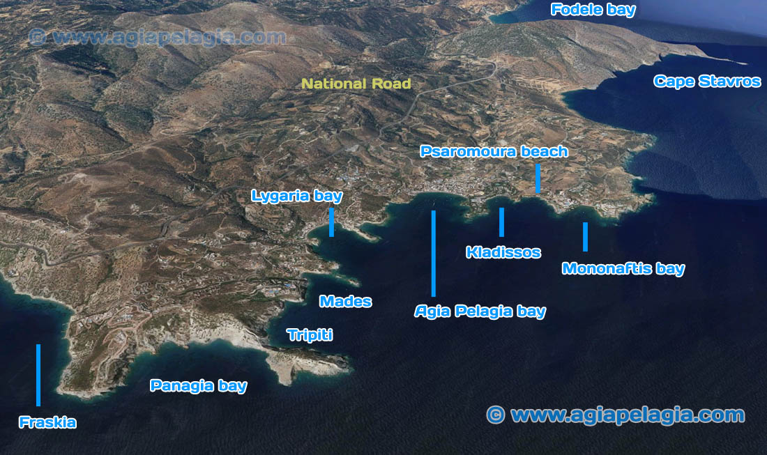 Map of Agia Pelagia Area with all the bays and destinations