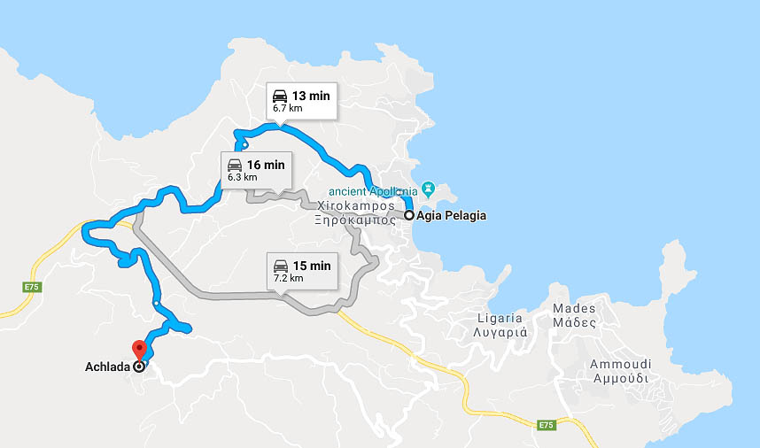 Map - drive to Achlada village from Agia Pelagia village (Google Maps)