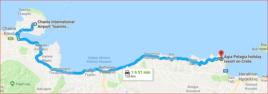 Map - drive to Agia Pelagia from Chanian International Airport (Google Maps)