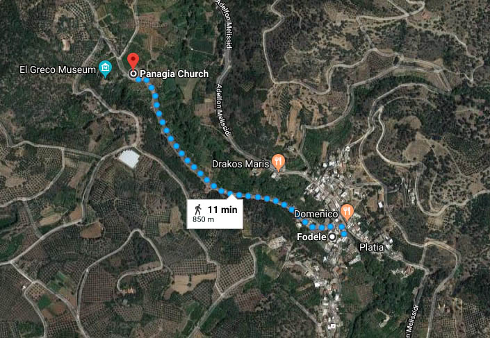 MAP - walking directions - Fodele village to the Byzantine church of Panagia