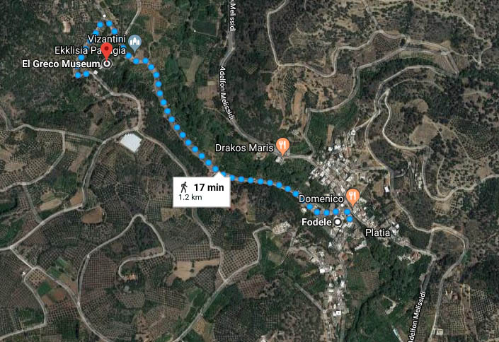 MAP - walking directions - Fodele village to El Greco museum
