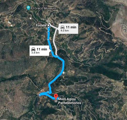 MAP - driving directions - Fodele village to holy Monastery Agios Panteleimon