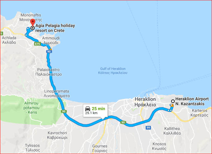 Map - drive to Agia Pelagia from Heraklion International Airport (Google Maps)