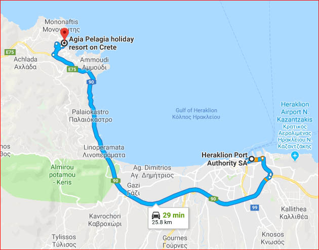 Map - drive to Agia Pelagia from Heraklion Port (Google Maps)