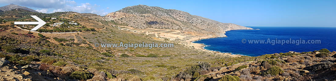Villa for sale in Agia Pelagia by onwer - panoramic view of the villa property plot